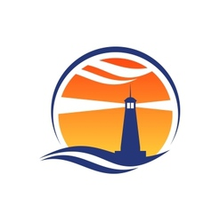 Lighthouse icon at sunset vector
