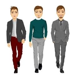 portrait of young men walking forward vector image vector image