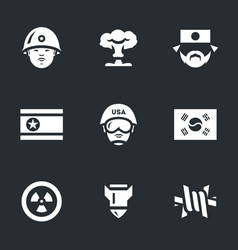 set of north and south korea icons vector image