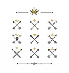 black and golden retro hand drawn tribal icons set vector image vector image