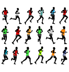 runners in colored sportswear silhouettes vector image