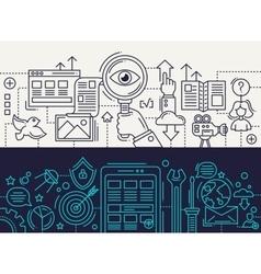 Search Engine App Development - line design vector image vector image