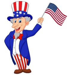 Uncle Sam cartoon holding American flag vector image