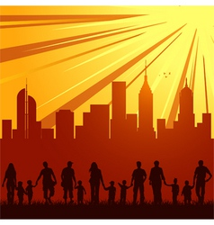 urban city family silhouettes vector image