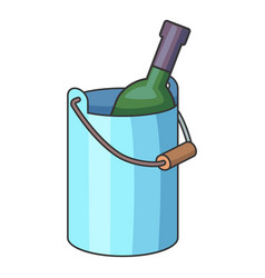 wine bottle with ice bucket icon cartoon style vector image vector image