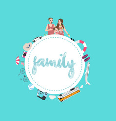 family mom dad and kids travel transportation vector image