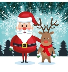 santa with reindeer and landscape snow graphic vector image