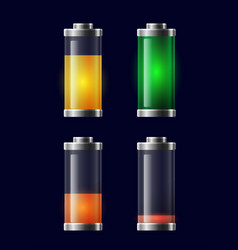 set of transparent different charging battery vector image vector image