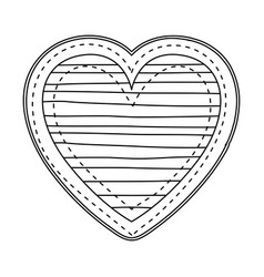 silhouette heart shape with lines pattern vector image vector image