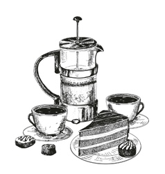 Teapot cup and chocolate cake vector image vector image