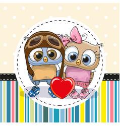 Two cute cartoon owls vector