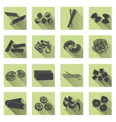 various types of pasta food color flat icons set vector image vector image