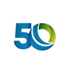 50 years anniversary celebration blue green vector