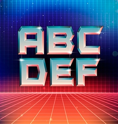 80s retro futuristic font from a to f vector