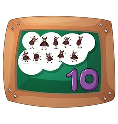 A blackboard with ten cockroaches vector