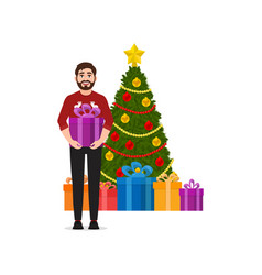 a man holds a gift christmas tree with gifts on vector image
