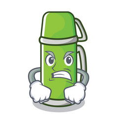 Angry thermos character cartoon style vector