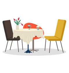 Armchairs and table with tablecloth in coffeehouse vector