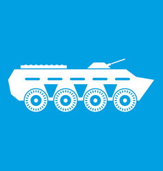 Army battle tank icon white vector
