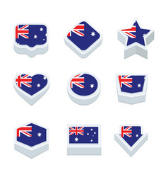 Australia flags icons and button set nine styles vector