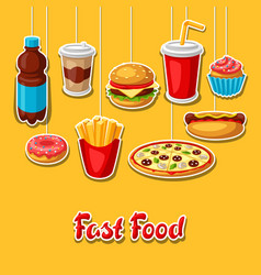 Background with fast food meal tasty fastfood vector