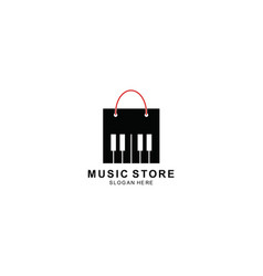 Bag and piano button logo template design symbol vector