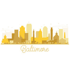 baltimore city skyline golden silhouette vector image