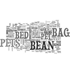Bean bag bed for pets text word cloud concept vector