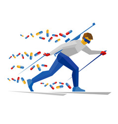 Biathlon player with doping pills vector