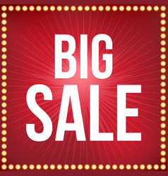big sale type font and light bulb frame poster fo vector image