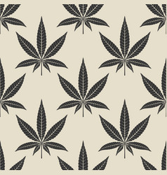 black cannabis leaf seamless pattern vector image