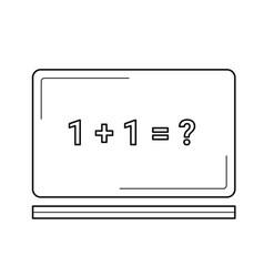 blackboard with math task line icon vector image