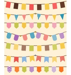 Bunting and garland set in various colors vector