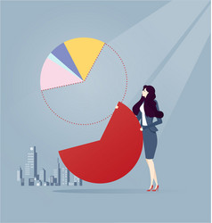 Business woman sharing profit pie chart business vector