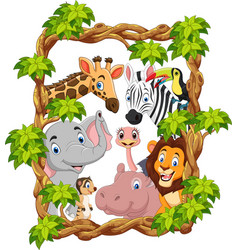 cartoon collection happy zoo animals vector image