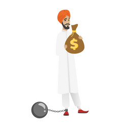 Chained hindu businessman with bag full of taxes vector