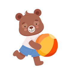 Cheerful bear character wearing playsuit running vector
