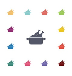 chicken dish flat icons set vector image