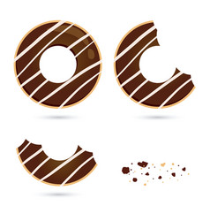 Chocolate flavored doughnut in different eating vector