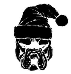 christmas card poster portrait bulldog vector image