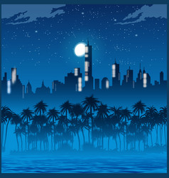 city lights and palm trees at night vector image