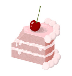 creamy slice cake with a piece bitten off vector image