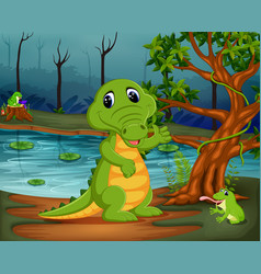 Crocodile and frog in the jungle with lake scene vector