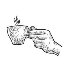 Cup espresso in hand sketch vector