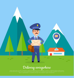 delivery everywhere banner courier with package vector image