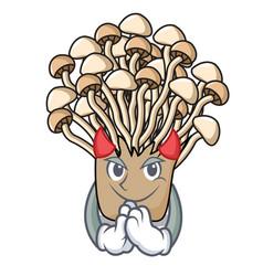 Devil enoki mushroom mascot cartoon vector