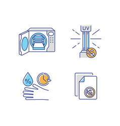 Disinfection equipment rgb color icons set vector