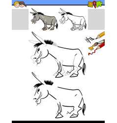 Drawing and coloring worksheet with donkey vector