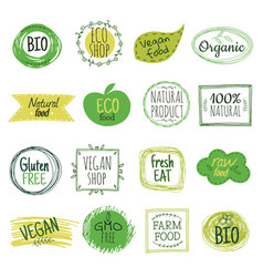 Eco emblems vegan green bio food gluten free vector