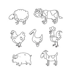 farm animal cartoon drawing vector image